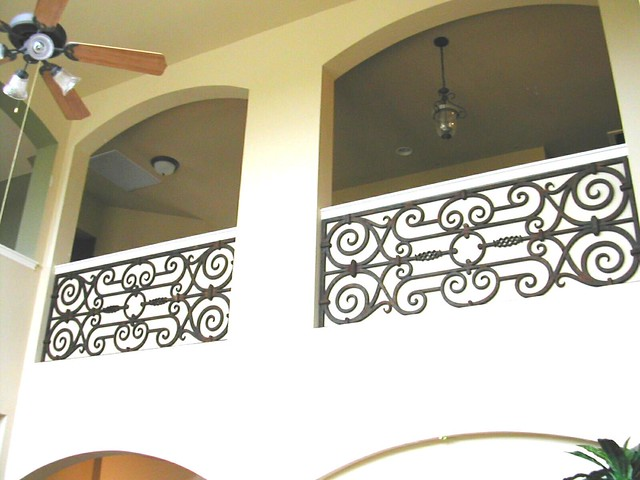 Faux wrought iron balcony niche decor flickr photo for Balcony wall decoration