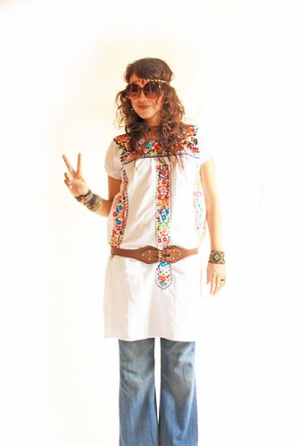 Peace and Love white vintage  Mexico embroidered dress