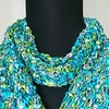 Hand Knit Ladder Ribbon Scarf with Ruffle - SeaBreeze