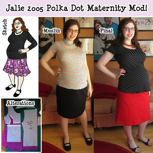 Jalie 2005 Polka Dot Maternity Mods!