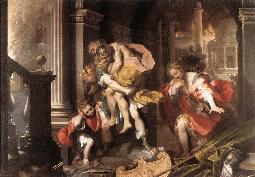 Aeneas flees burning Troy.