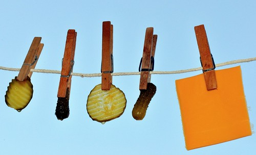 Pickles and Cheese on a Clothesline