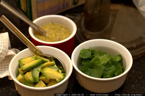 avocado, tomatillo salsa, and cilantro for our chicken fajita dinner