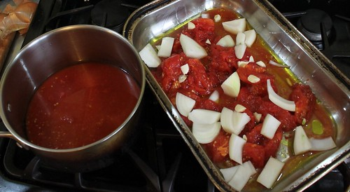 tomato juice and onions before roasting