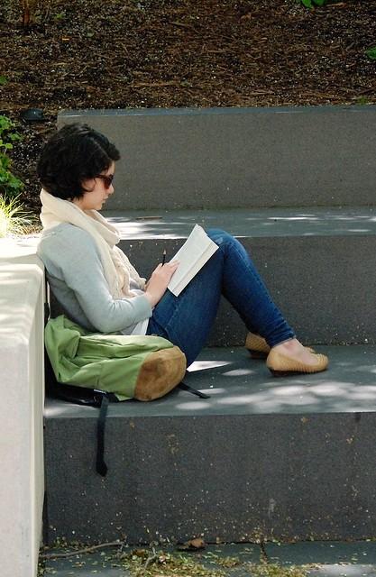 Chicago People: Woman Reading, Millennium Park, Chicago, 2011