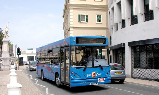 City Buses, Gibraltar: G8174A Dennis Dart MPD Caetano Nimbus B27F on Linewall Road at the British War Memorial on Route 4 to Rosia Bay