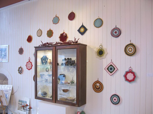 Crochet potholders by Emma Lamb at the Peter Potter Gallery, Haddington, East Lothian