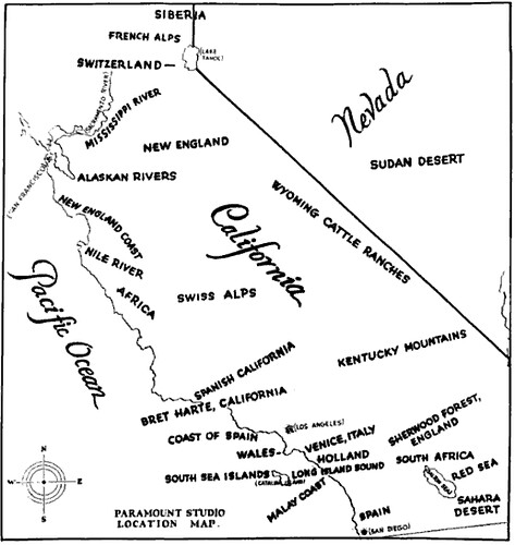 Paramount Studio map of California's geographical facsimiles, fron The Motion Picture Industry as a Basis for Bond Financing, 1927