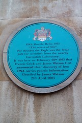 Photo of Francis Crick and James Watson blue plaque