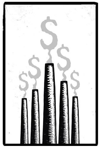 Ilustración: chimeneas que expulsan mucho humo con forma de dólar