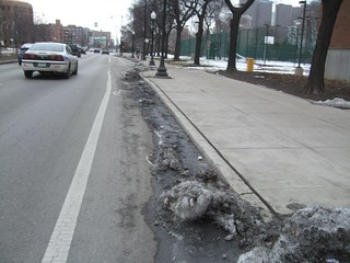 Snow and ice in the bike lane