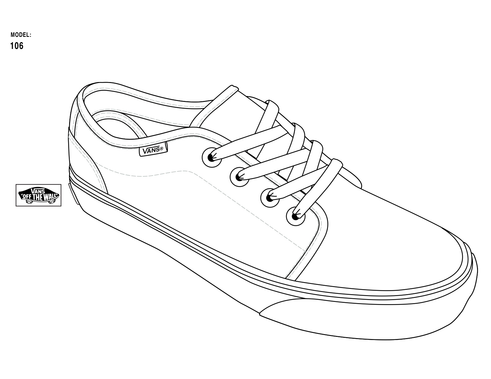coloring pages of shoes - vans shoe free coloring pages