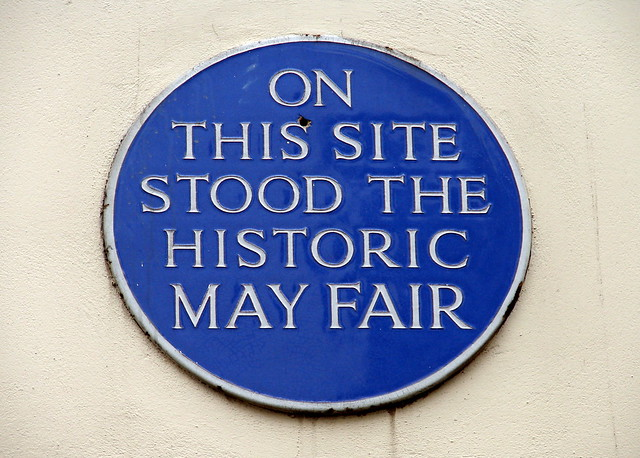 Blue plaque № 2497 - On  this site  stood the   historic  May Fair