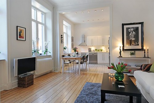 Interieur en design tips op 58 vierkante meter in open plan - Lay outs kleine studio m ...