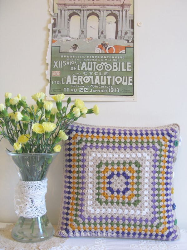Edith, crocus inspired crochet cushion by Emma Lamb