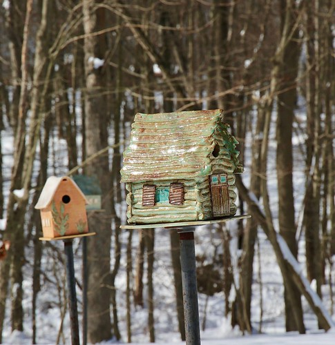 Bird houses in the New England snow