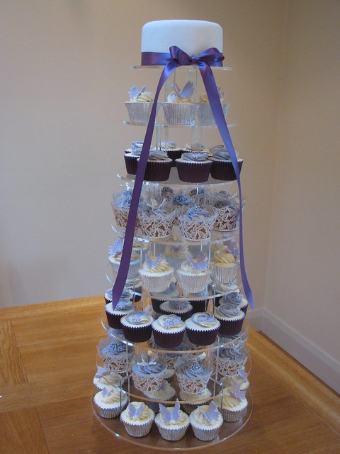 Purple Silver Wedding Butterfly Display wwwbluedoorbakerycouk