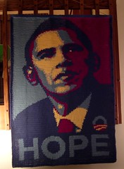 Crocheted Wallhanging using Shepard Fairey's Hope graphic