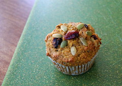 Healthy diet, pumpkin cranberry supremely healthy seeded muffin