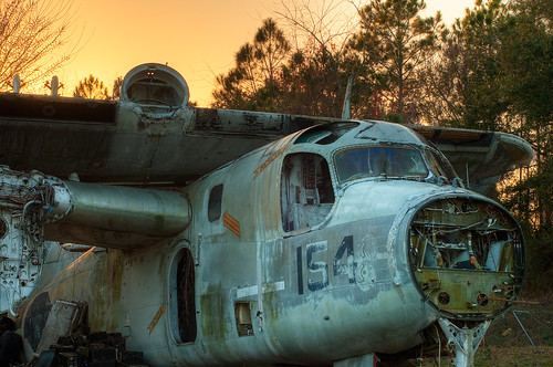 sunset sun rot abandoned broken rotting graveyard field st plane airplane golden nikon rust florida decay navy rusty abandon hour rusting fl rotten bomber naval setting augustine tracker hdr highdynamicrange hdri s2 grumman d300 cs4 photomatix reconnaissance s2c floridanikond300