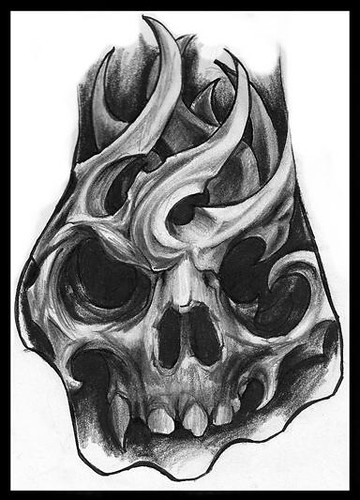 bio mechanic skull hand tattoo sketch