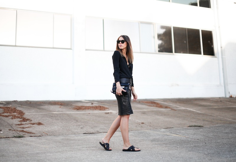 modern legacy fashion personal style blog australia leather pencil skirt KAHLO Proenza Schouler PS11 mini vs classic silk shirt slide sandals street style all black everything white (1 of 1)