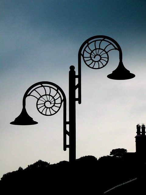 Lyme Regis - June 2005 - Ammonite Street Lights at Dusk