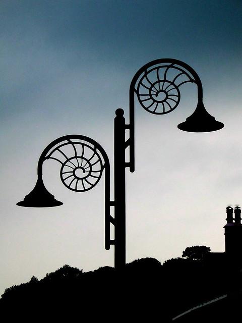 Lyme Regis - June 2005 - Ammonite Street Lights at Dusk