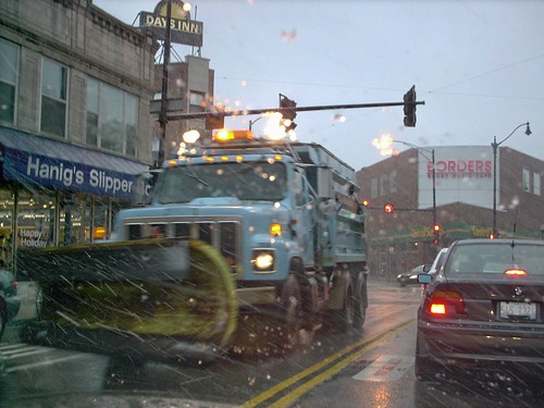 A City of Chicago Department of Streets and Sanitation snowplow truck heading southbound on North Clark Street. Chicago Illinois. December 2006. by Eddie from Chicago