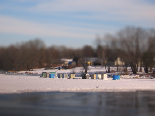 trees sky snow ice water clouds river fishing village maine brunswick shacks androscoggin tiltshift