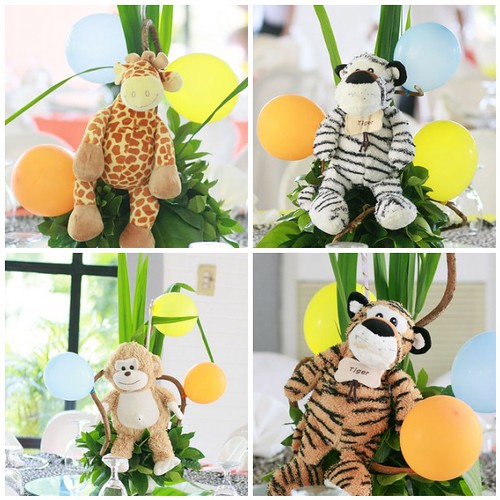 Centertable centerpieces safari animals flickr photo for Animal party decoration ideas