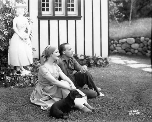 Alfred Lunt and Lynn Fontanne in Profile outside the Pool House at Ten Chimneys