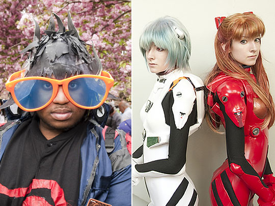 Left: Cosplayer.  Photo by Jason Gardner; right: Cosplayers. Photo by Anna Fischer.