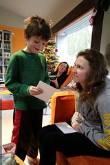 nick helps aunt megan open and read her birthday cards