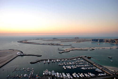 The Palm Jumeirah Island at sunset