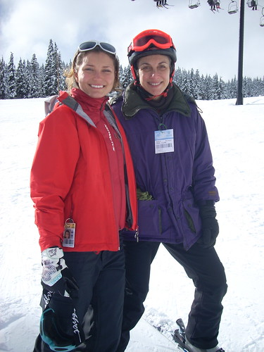 Emma Rose and Laura Allen-Simpson on Buttercup following skiing lesson.)