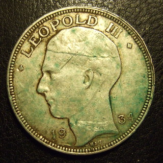 BELGIUM, LEOPOLD III 1934 ---20 FRANCS b