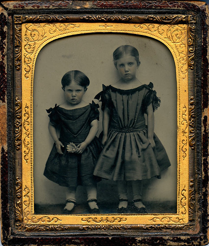 Ambrotype Two Girls with a Shuttlecock by depthandtime