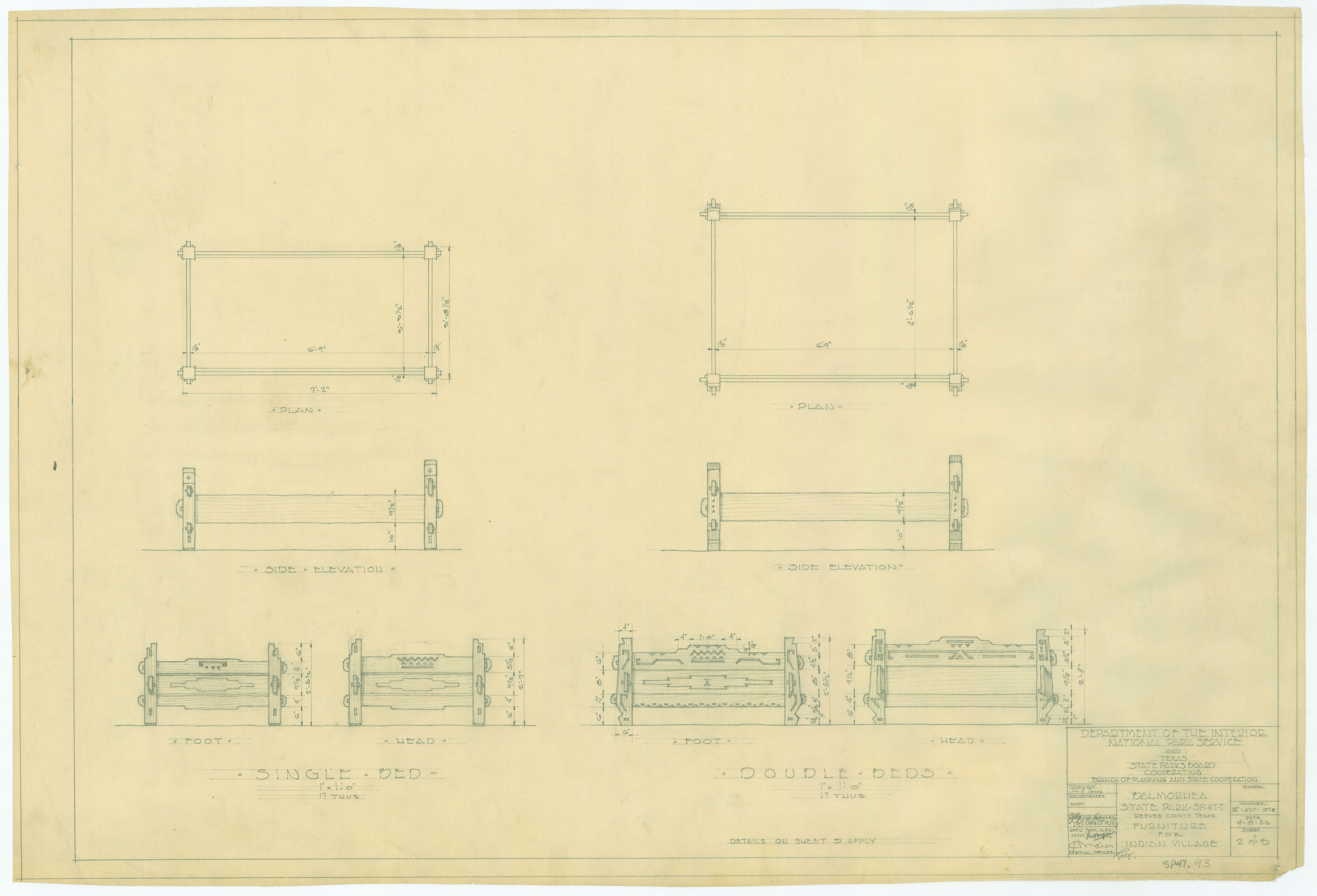 Balmorhea State Park - Furniture for Indian Village (Single and Double Beds) - SP47-93