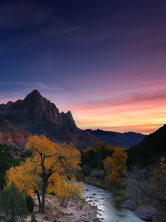 Watchman at Sunset from Zion Valley Bridge