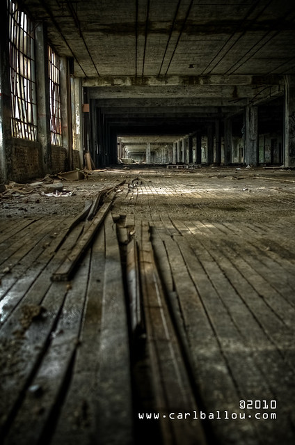 Abandoned factory wood floor at the abandoned packard for Wood floor factory