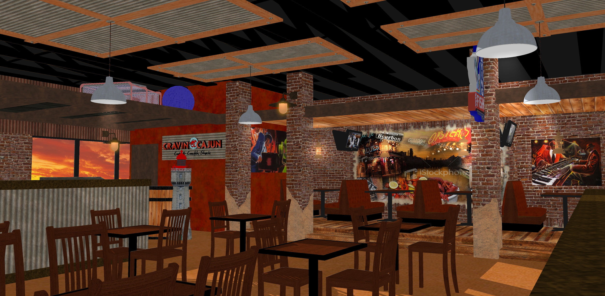 Restaurant interior design d rendering