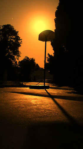 orange moon net wet rain basketball photoshop countryside stand shine full gleam treees cs3