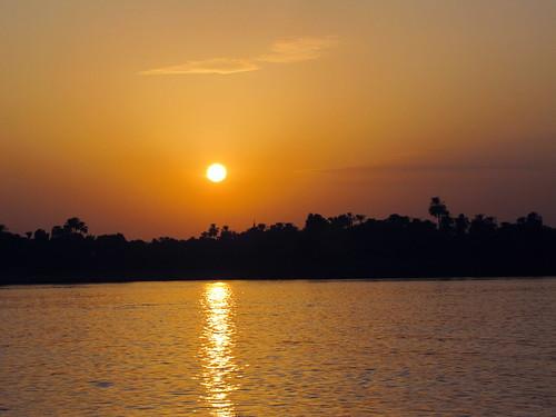 Sunset over the Nile River near Aswan, Egypt