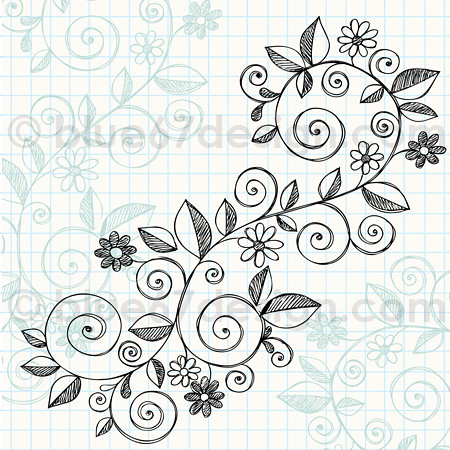 Hand-Drawn Sketchy Notebook Doodle Vine with Flowers Vector ...