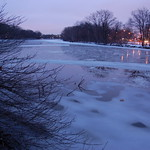 Charles River, 18 January 2010: Evening view of thawing waters