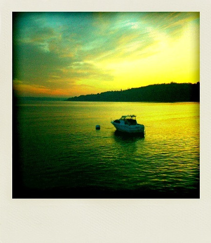 seattle sunset usa square polaroid boat explore washingtonstate poladroid