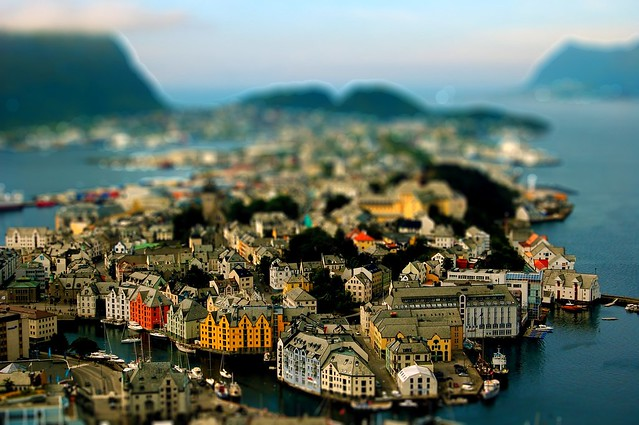 Alesund in Norge. This is tiltshift.