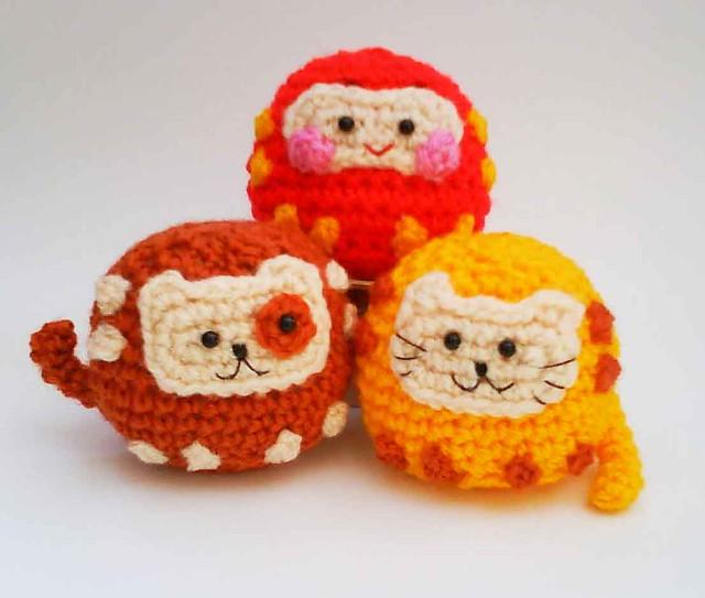 Japanese Amigurumi Doll Patterns : Daruma Japanese wish dolls Kitty Doggy Amigurumi Crochet ...