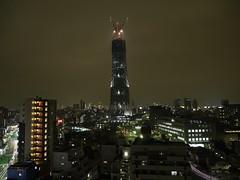 Xmas illuminated Tokyo Sky Tree under construction